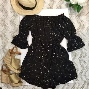 NEW ROMPER ONE PIECE SLEEVES RUFFLE BLACK SHORTS